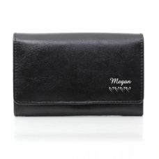 Name & Hearts Black Leather Purse